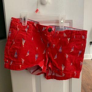 Red sail boat shorts